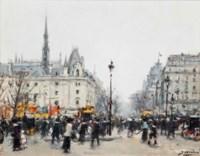 Figures bustling before the Conciergerie, Paris